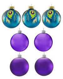 peacock glamour unique glass christmas ornament set treetopia