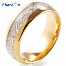 meteorite wedding band shardon engagement jewelry 8mm domed tungsten wedding ring band