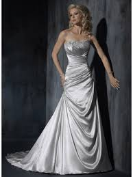 satin wedding dresses a line strapless sweep silver satin wedding dresses cheap 801081