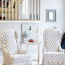 polka dots wingback chair slipcovers cover ideas for a wingback