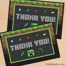 minecraft cards printable minecraft thank you card