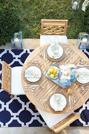 8 ways to punch up your outdoor room how to decorate navy outdoor rug with graphic lattice pattern from ballard designs