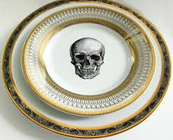 halloween plates black and gold skull steampunk dinnerware skull plates