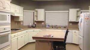 Kitchen With Painted Cabinets Diy Painting Oak Kitchen Cabinets White Youtube