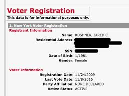 jared kushner is listed as a woman on his new york voter