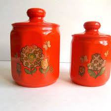 orange kitchen canisters shop retro kitchen canisters on wanelo