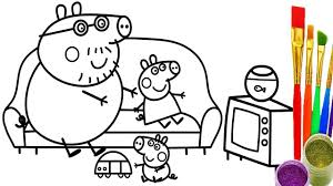 learn colors with peppa pig family coloring pages how to draw for