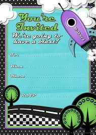 free printable party invitations rocket ship birthday invites for