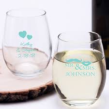 personalized wedding blue personalized stemless wine glass exclusive