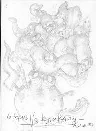 king kong vs octopus sketch by ndrue182 on deviantart