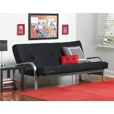 my futon sinks in the middle mainstays metal arm futon with mattress black walmart com