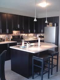 kitchen idea 1 bright blue wall dark cabinet weathered floor
