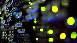 lights blinking on server panels in server room cabinets stock
