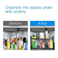 Under Sink Organizer Kitchen - lifewit adjustable under sink organizer 2 tier expandable rack