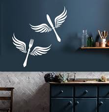 vinyl wall decal cutlery wings kitchen restaurant decor stickers
