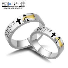 wedding rings cross images Blue sweet couple rings i will always love you engraved wedding jpg