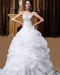 sweetheart organza beading ball gown wedding dress with ruffle