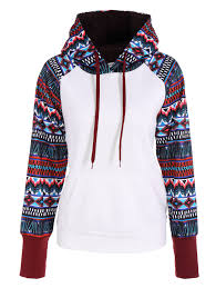 hoodies white s pocket geometrical printed jumper hoodie gamiss