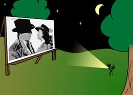 night clipart outdoor movie screen pencil and in color night