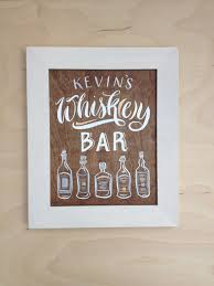 bourbon sign painted whiskey or bourbon bar sign on walnut 8x10 framed