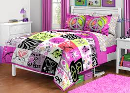Best 20 Girls Twin Bedding by Unique Peace Signs Twin Comforter Set Bright Hippie Pillow Sham