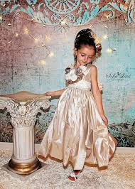 gold heiress luxury girls holiday party dress little girls party