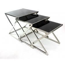 buy nest of tables modern black glass nest tables chrome legs set of 3 nesting end