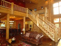 hand peeled cedar log stair railings