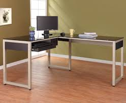 l shaped desk home office black brushed stainless steel leg computer desk using glass glass