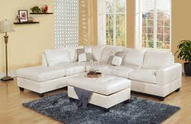 White Leather Sectional Sofa White Bonded Leather Modern Sectional Sofa W Storage Ottoman