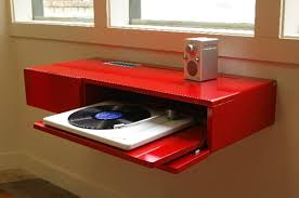 simple murphy desk red color with music player and speaker murphy