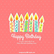 cute birthday card with candles vector free download