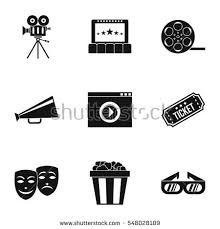 movie film video icons thin line stock vector 332229854 shutterstock