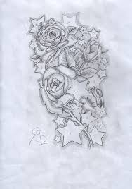 outline skull and roses half sleeve tattoos real photo pictures