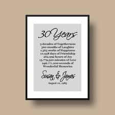 30 anniversary gift 30th anniversary gift pearl anniversary personalized 30th