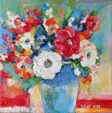 oil painting flowers in blue vase 1 by becky kim