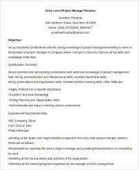 Entry Level Project Manager Resume Sample by Free Manager Resume Templates 40 Free Word Pdf Documents