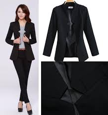 online cheap 2014 fashion business suits for office ladies black
