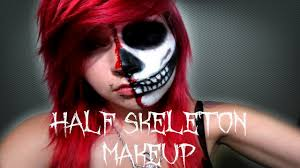 Skeleton Face Paint For Halloween by Half Skeleton Half Human Halloween Tutorial Youtube
