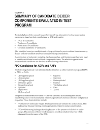 section 2 summary of candidate deicer components evaluated in