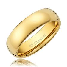 wedding gold rings 5mm men s titanium ring wedding band 14k gold plated polished