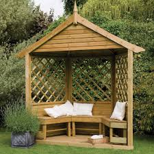 majestic corner wooden lattice garden arbour with bench seating