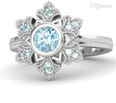 snowflake engagement ring 2017 frozen elsa snowflake rings 925 sterling silver aquamarine