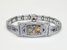 sapphire crystal bracelet images Steampunk bracelet art deco antique watch movement gears white jpg