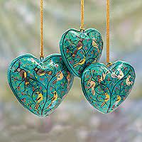 handmade papier mache ornaments set of 3