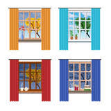 Different Windows Designs Evening Cozy Interior Of Living Room Rain Outside The Window Cat