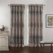Asian Curtains Flocking Crafts Blackout Gray Asian Curtains