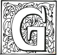 letter g with ornament coloring page free printable coloring pages