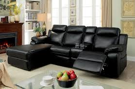 Recliner With Cup Holder Hardy Transitional Style Black Leatherette Sofa Recliner Sectional