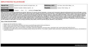 prestige teller cover letter u0026 resume
